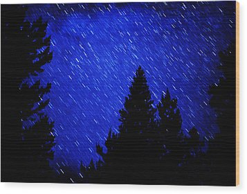 Star Trails In Night Sky Wood Print by Lane Erickson