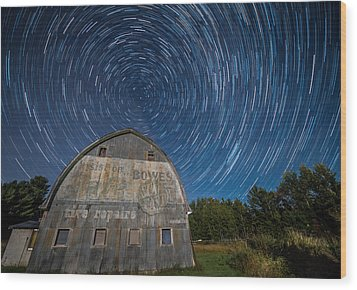 Star Trails Over Barn Wood Print
