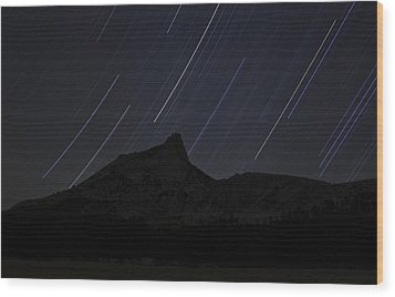 Star Trails Over Cathedral Peak Wood Print