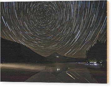 Star Trails Over Mount Hood At Trillium Lake Wood Print