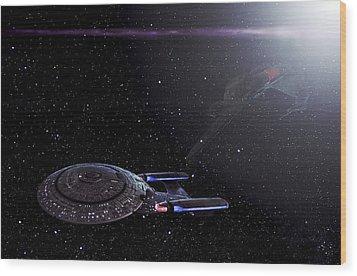 Star Trek - Ambush - Klingon Bird Of Prey - Uss Enterprise D Wood Print by Jason Politte
