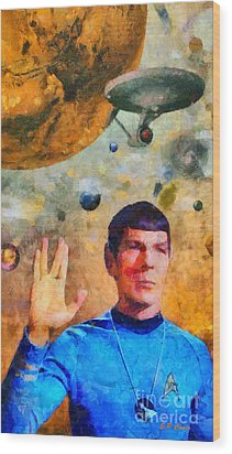 Star Trek-leonard Nimoy Wood Print by Elizabeth Coats