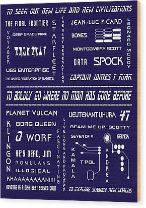 Star Trek Remembered In Navy Blue Wood Print by Georgia Fowler
