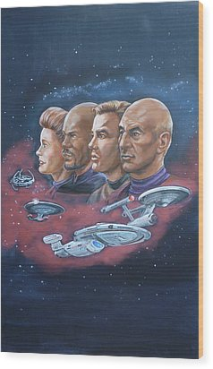 Wood Print featuring the painting Star Trek Tribute Captains by Bryan Bustard