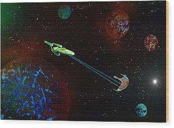 Star Trek -uss Enterprise Wood Print by Michael Rucker