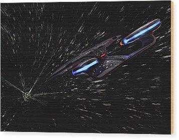 Star Trek - Wormhole Effect - Uss Enterprise D Wood Print by Jason Politte