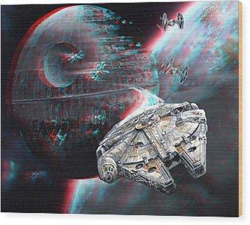 Star Wars 3d Millennium Falcon Wood Print by Paul Van Scott