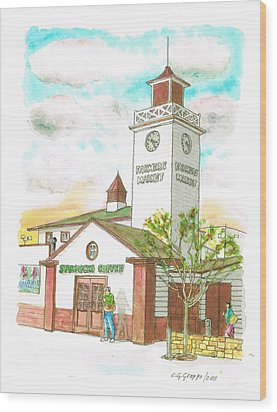 Starbucks Coffee At Farmers Market In Fairfax Ave And 3rh Street - Los Angeles - California Wood Print