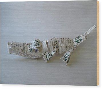 Starbucks Gator Wood Print by Alfred Ng