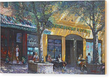 Starbucks Hangout Nyack Ny Wood Print by Ylli Haruni