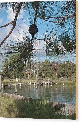 Starburst Pines Wood Print by Katie Adkins