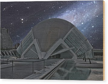 Wood Print featuring the photograph Starfall On Planetary by Angel Jesus De la Fuente