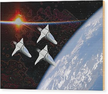Starfighters Wood Print by Piero Lucia