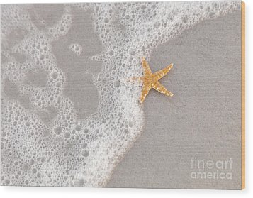 Starfish In The Surf Wood Print