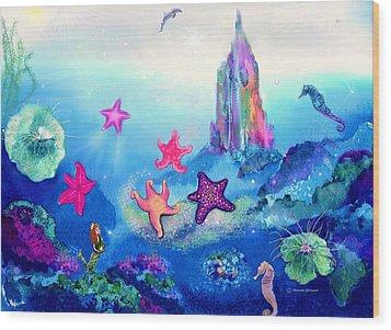 Starfish Play Wood Print