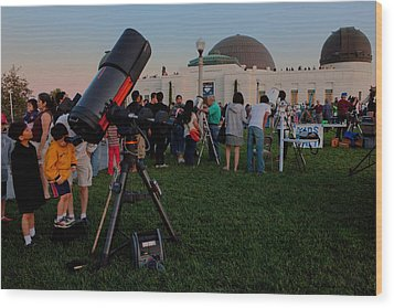 Stargazers At Dusk - Griffith Observatory Los Angeles California Wood Print