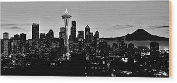 Stark Seattle Skyline Wood Print