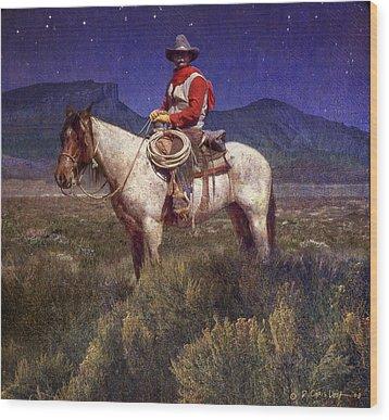 Starlight Cowboy Durango Wood Print by R christopher Vest