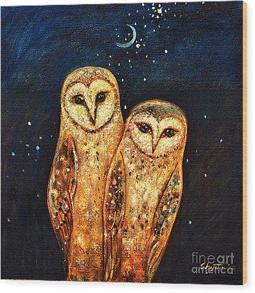 Starlight Owls Wood Print by Shijun Munns