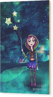 Starloons Wood Print by Kristin Hodges