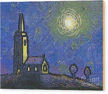 Starry Church Wood Print by Pixel Chimp