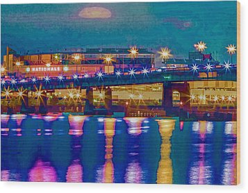Starry Night At Nationals Park Wood Print by Jerry Gammon