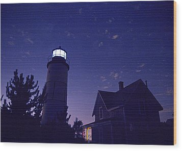 Starry Night At Sandy Neck Lighthouse Wood Print by Charles Harden