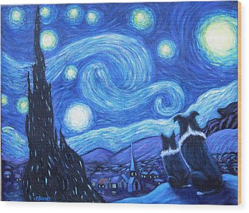 Starry Night Border Collies Wood Print