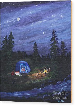 Wood Print featuring the painting Starry Night Campers Delight by Myrna Walsh