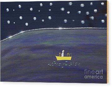 Wood Print featuring the digital art Starry Night Fishing by Haleh Mahbod