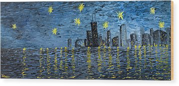 Starry Night In Chicago Wood Print