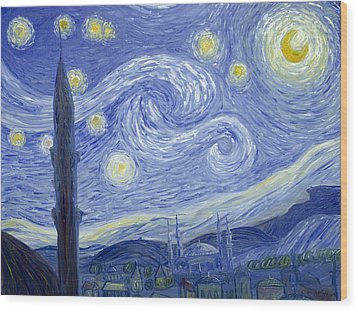 Starry Night In Istanbul Wood Print
