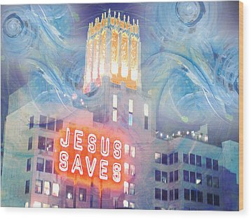 Wood Print featuring the painting Starry Night Indowntown La by John Fish