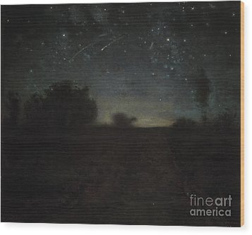 Starry Night Wood Print by Jean-Francois Millet