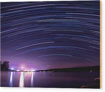 Starry Night On Cayuga Lake Wood Print by Paul Ge