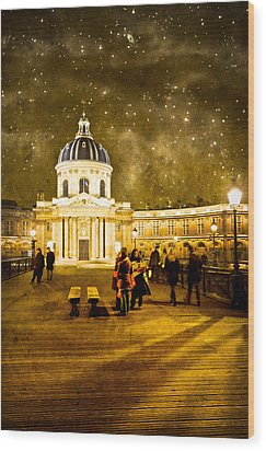 Starry Night Over The Institut De France Wood Print by Mark Tisdale