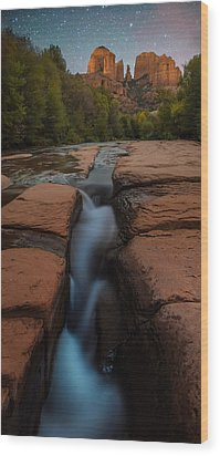 Starry Night Sluice Box Photography At Red Rock Crossing Wood Print by Mike Berenson