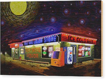 Starry Starry Fly By Nite Drive Thru Liquor Store Wood Print by Robert FERD Frank