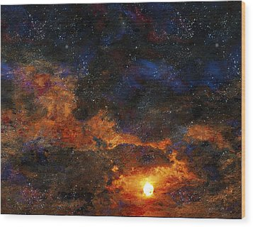 Starry Sunset Wood Print