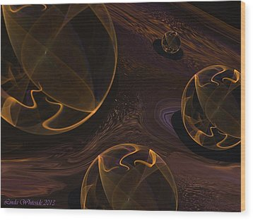 Wood Print featuring the digital art Starry Worlds by Linda Whiteside