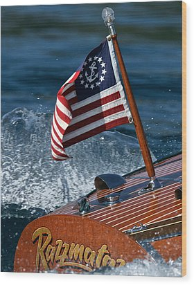 Stars And Stripes Ensign Wood Print by Steven Lapkin