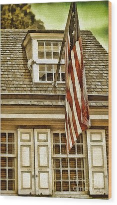 Stars And Stripes Wood Print by Mo T