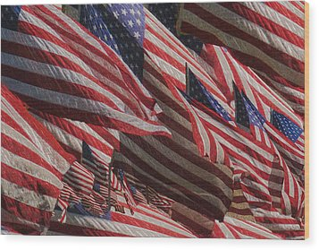 Stars And Stripes - Remembering Wood Print by Jack Zulli