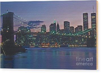 Stars Brooklyn Bridge Wood Print by Bruce Bain