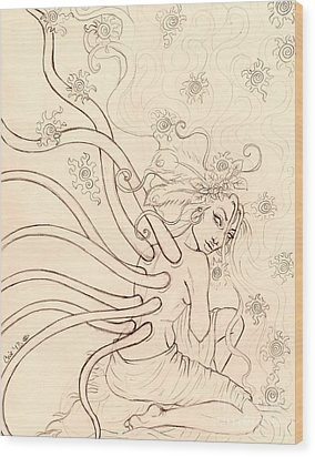 Stars Entwined In Her Hair Wood Print by Coriander  Shea