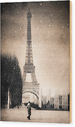 Stars Fall On The Eiffel Tower Wood Print by Mark E Tisdale