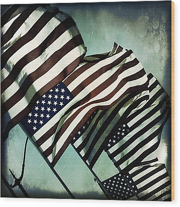 Stars N  Stripes Wood Print by Trish Mistric