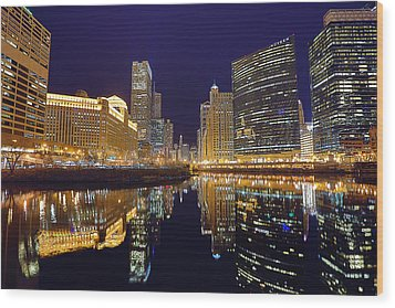 Stars Over Chicago Wood Print by Nicholas Johnson