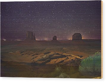 Stars Over Monument Valley Wood Print