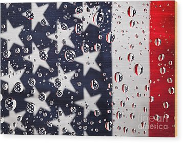 Stars Stripes And Water Drops Wood Print by Sharon Dominick